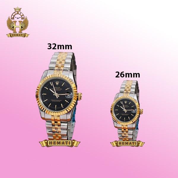 ساعت زنانه رولکس دیت جاست Rolex Datejust RODJL204 نقره ای طلایی (صفحه مشکی)