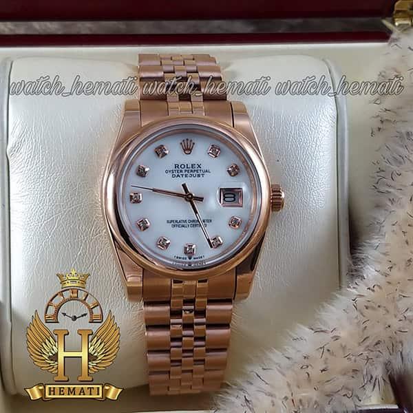 خرید ، قیمت ، مشخصات ساعت مردانه رولکس دیت جاست Rolex Datejust RODJM401 رزگلد ، دور قاب ساده