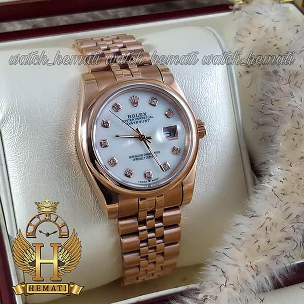 خرید اینترنتی ساعت مردانه رولکس دیت جاست Rolex Datejust RODJM401 رزگلد ، دور قاب ساده