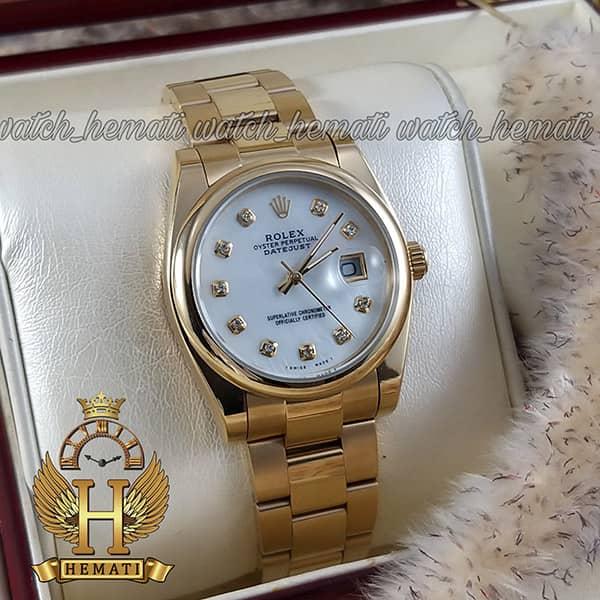خرید ، قیمت ، مشخصات ساعت مردانه رولکس دیت جاست Rolex Datejust RODJM402 ،طلایی ، بند اویستر ، دور قاب ساده