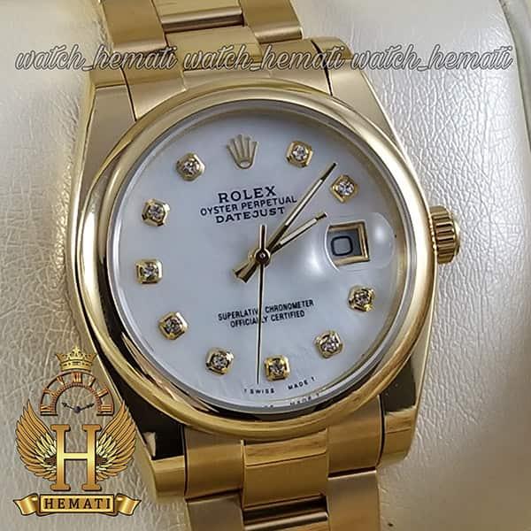 خرید ارزان ساعت مردانه رولکس دیت جاست Rolex Datejust RODJM402 ،طلایی ، بند اویستر ، دور قاب ساده