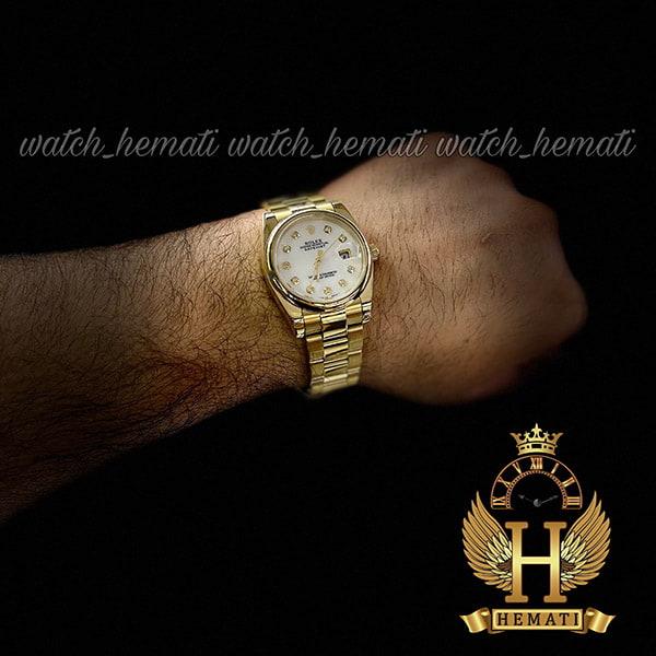 خرید اینترنتی ساعت مردانه رولکس دیت جاست Rolex Datejust RODJM402 ،طلایی ، بند اویستر ، دور قاب ساده