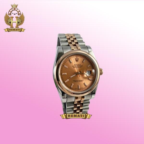 ساعت مردانه رولکس دیت جاست مدل Rolex datejust 308 نقره ای رزگلد هایکپی