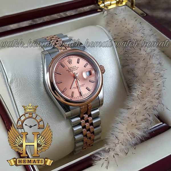 خرید ، قیمت ، مشخصات ساعت مردانه رولکس دیت جاست Rolex Datejust RODJM403 نقره ای رزگلد ، دور قاب ساده ، ایندکس خط