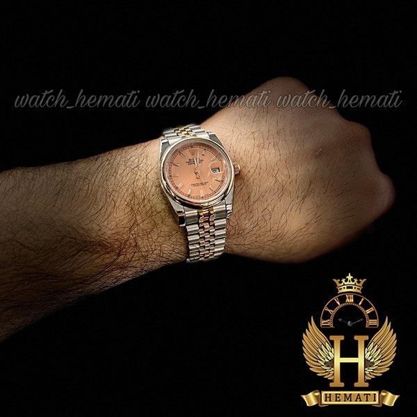 خرید اینترنتی ساعت مردانه رولکس دیت جاست Rolex Datejust RODJM403 نقره ای رزگلد ، دور قاب ساده ، ایندکس خط