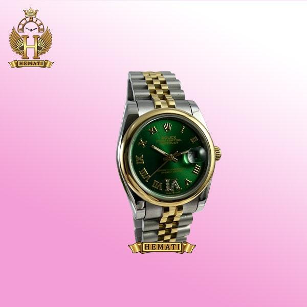 ساعت مردانه رولکس دیت جاست Datejust 163 نقره ای طلایی صفحه ساعت سبز