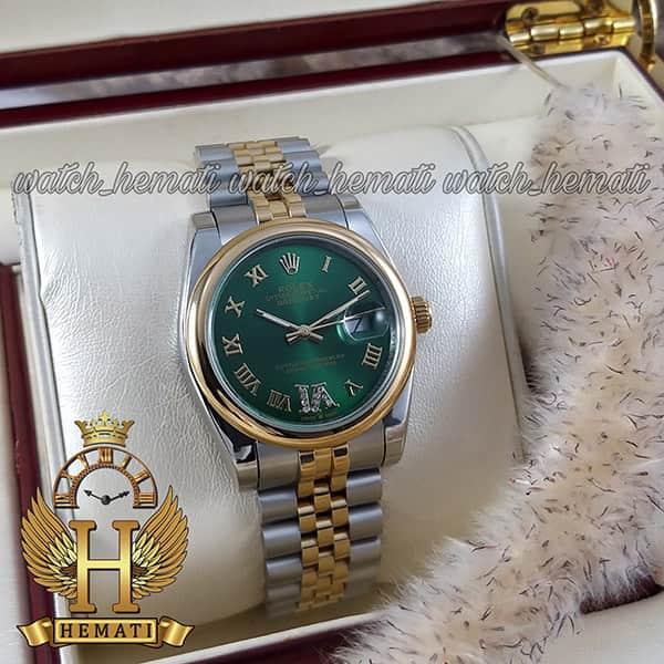 خرید ، قیمت ، مشخصات ساعت مردانه رولکس دیت جاست Rolex Datejust RODJM400 نقره ای طلایی ، دور قاب ساده