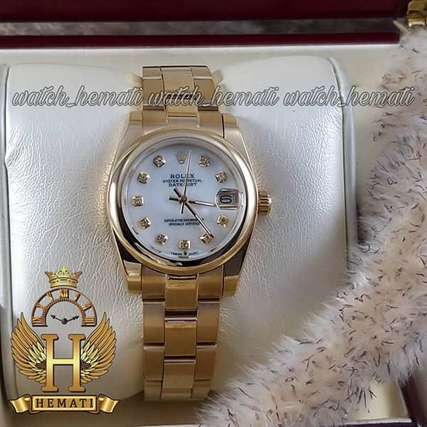 خرید ارزان ساعت زنانه رولکس دیت جاست Rolex Datejust RODJL32403 طلایی بند مدل اویستر ، قطر 32 میلیمتر