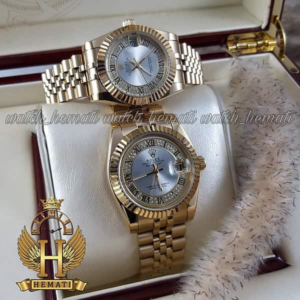خرید اینترنتی ساعت ست مردانه و زنانه رولکس دیت جاست Rolex Datejust rodjst109 طلایی ایندکس یونانی