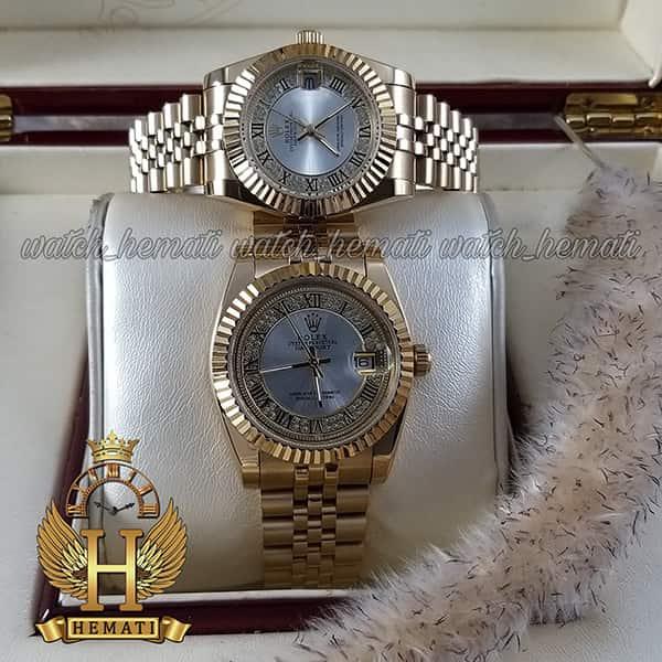 خرید انلاین ساعت ست مردانه و زنانه رولکس دیت جاست Rolex Datejust rodjst109 طلایی ایندکس یونانی