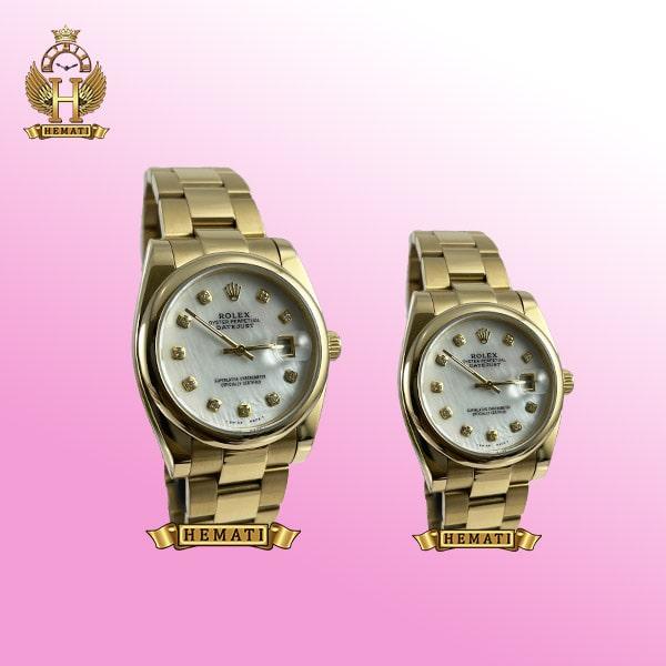 ساعت ست مردانه و زنانه رولکس دیت جاست مدل 670 طلایی