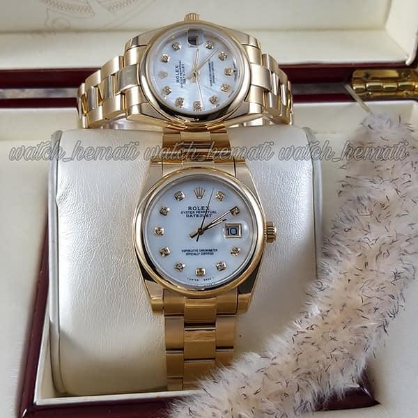 خرید اینترنتی ساعت ست مردانه و زنانه رولکس دیت جاست Rolex Datejust rodjst303 طلایی دور قاب ساده بند اویستر