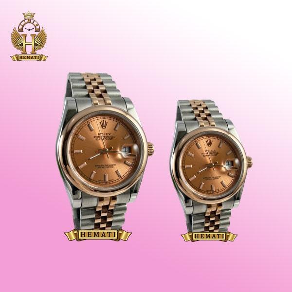 ساعت ست مردانه و زنانه رولکس دیت جاست Rolex Datejust rodjst304 نقره ای رزگلد ایندکس خط