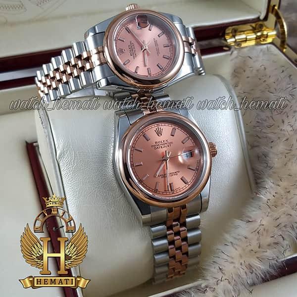 خرید ، قیمت ، مشخصات ساعت ست مردانه و زنانه رولکس دیت جاست Rolex Datejust rodjst304 نقره ای رزگلد ایندکس خط