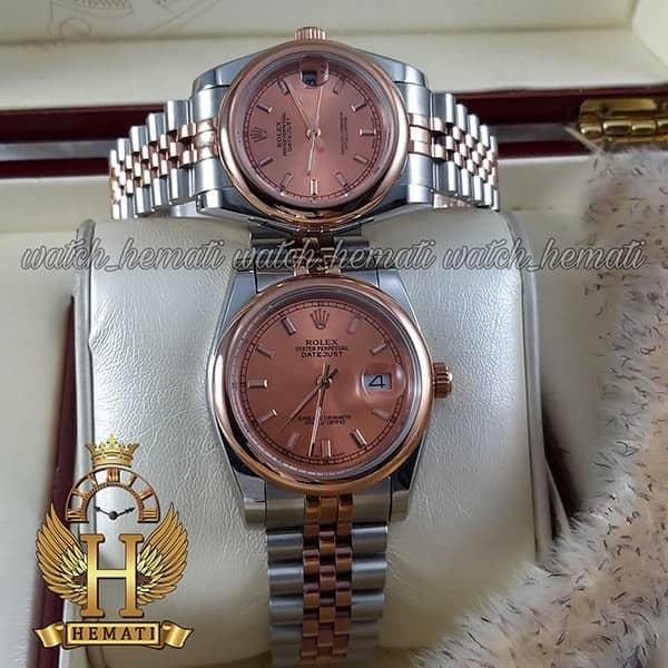 خرید اینترنتی ساعت ست مردانه و زنانه رولکس دیت جاست Rolex Datejust rodjst304 نقره ای رزگلد ایندکس خط