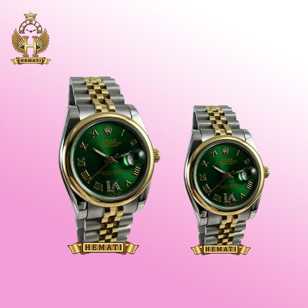 خرید ساعت ست دیت جاست رولکس مدل 589 نقره ای رزگلد صفحه ساعت سبز