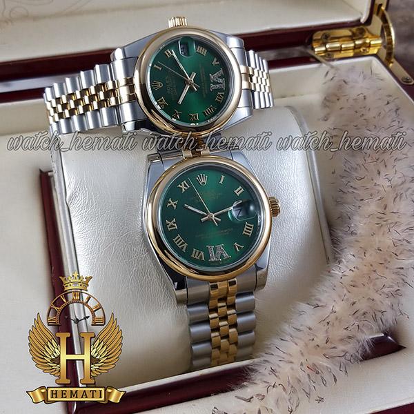 خرید ، قیمت ، مشخصات ساعت ست مردانه و زنانه رولکس دیت جاست Rolex Datejust rodjst301 نقره ای و طلایی صفحه سبز دور قاب ساده ایندکس یونانی