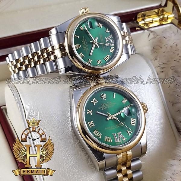خرید ارزان ساعت ست مردانه و زنانه رولکس دیت جاست Rolex Datejust rodjst301 نقره ای و طلایی صفحه سبز دور قاب ساده ایندکس یونانی