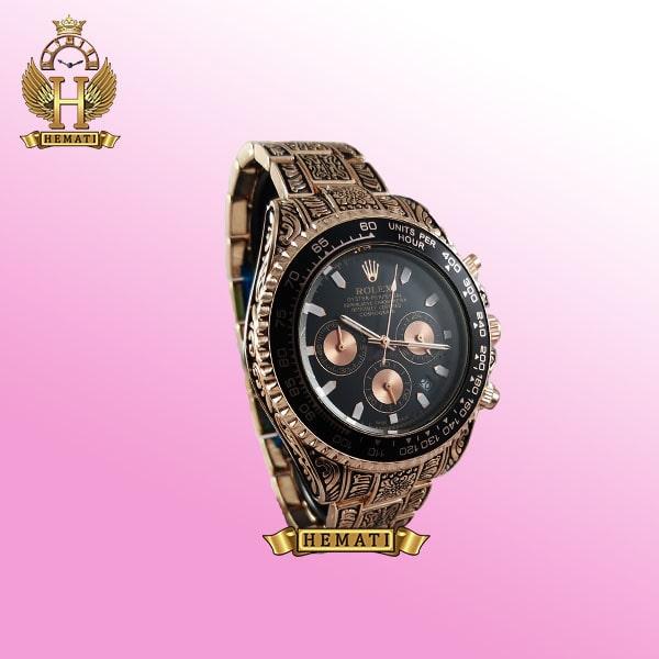 ساعت مردانه رولکس دیتونا مدل RD7440 رنگ رزگلد بند و قاب حکاکی شده هاکپی