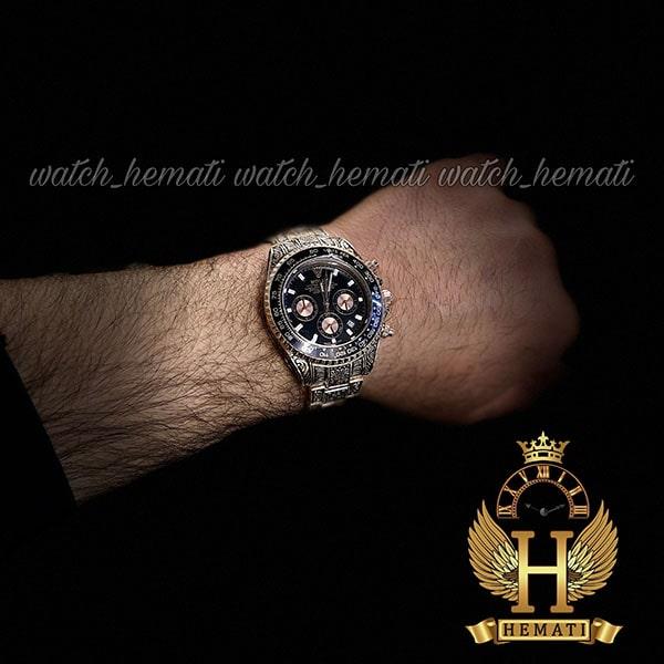 خرید انلاین ساعت رولکس حکاکی اتومات مدل دیتونا رنگ رزگلد صفحه مشکی