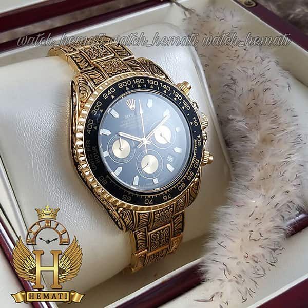 مشخصات ساعت رولکس حکاکی شده مدل دیتونا Rolex Daytona RODNC101 طلایی ، 3 موتوره فعال