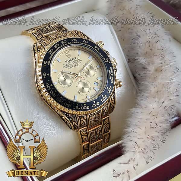 خرید ارزان ساعت رولکس حکاکی شده مدل دیتونا Rolex Daytona RODNC101 طلایی ، 3 موتوره فعال