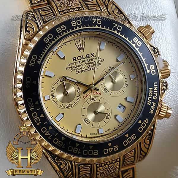 خرید اینترنتی ساعت رولکس حکاکی شده مدل دیتونا Rolex Daytona RODNC101 طلایی ، 3 موتوره فعال