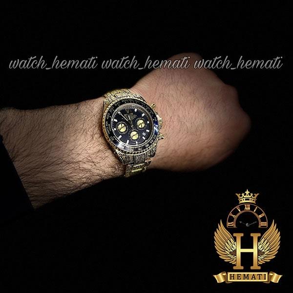 خرید انلاین ساعت رولکس حکاکی شده مدل دیتونا Rolex Daytona RODNC101 طلایی ، 3 موتوره فعال