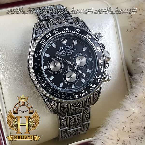 خرید ساعت رولکس حکاکی اتومات مدل دیتونا رنگ نقره ای
