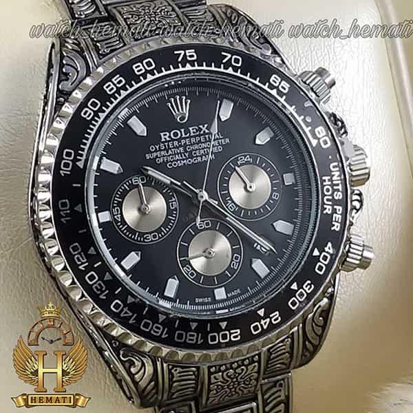 خرید اینترنتی ساعت رولکس حکاکی شده مدل دیتونا Rolex Daytona RODNC100 نقره ای ، دارای 3موتور فعال