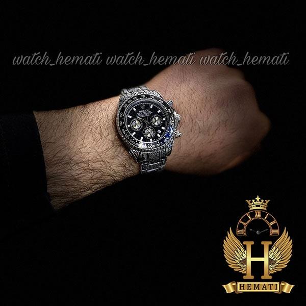 خرید انلاین ساعت رولکس حکاکی شده مدل دیتونا Rolex Daytona RODNC100 نقره ای ، دارای 3موتور فعال