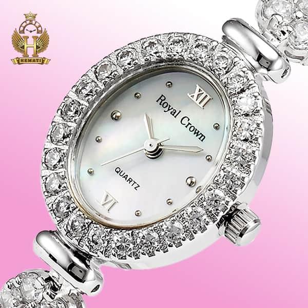 قیمت ساعت زنانه رویال کرون Royal crown 1516 نقره ای دو دور بند مدل فلاور نگین سواروسکی های کپی