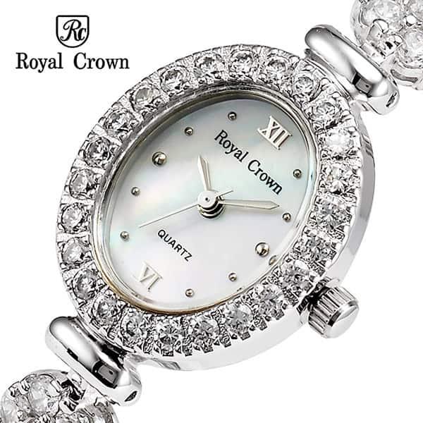 خرید ساعت زنانه رویال کرون Royal crown 1516 نقره ای دو دور بند مدل فلاور نگین سواروسکی های کپی