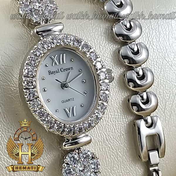 خرید اینترنتی ساعت زنانه رویال کرون Royal crown 1516 نقره ای دو دور بند مدل فلاور نگین سواروسکی های کپی