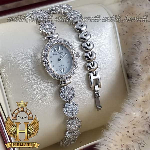 مشخصات ساعت زنانه رویال کرون Royal crown 1516 نقره ای دو دور بند مدل فلاور نگین سواروسکی های کپی