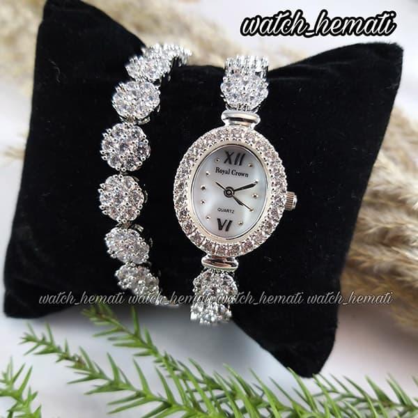 خرید انلاین ساعت زنانه رویال کرون Royal crown 1516 نقره ای دو دور بند مدل فلاور نگین سواروسکی های کپی