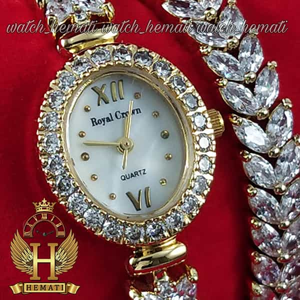 مشخصات ساعت زنانه رویال کرون 1516 طلایی دو دوربند مدل بند ماهی با نگین سواروسکی