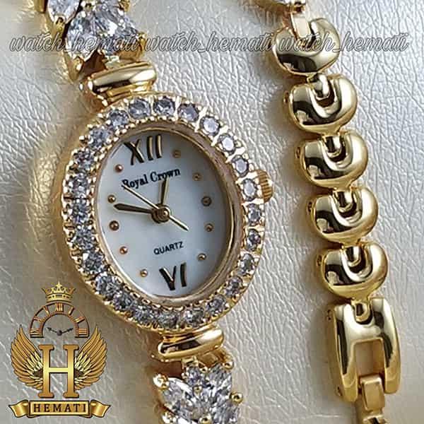 خرید اینترنتی ساعت زنانه رویال کرون 1516 طلایی دو دوربند مدل بند ماهی با نگین سواروسکی