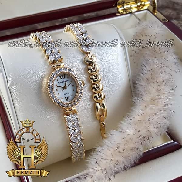 خرید انلاین ساعت زنانه رویال کرون 1516 طلایی دو دوربند مدل بند ماهی با نگین سواروسکی