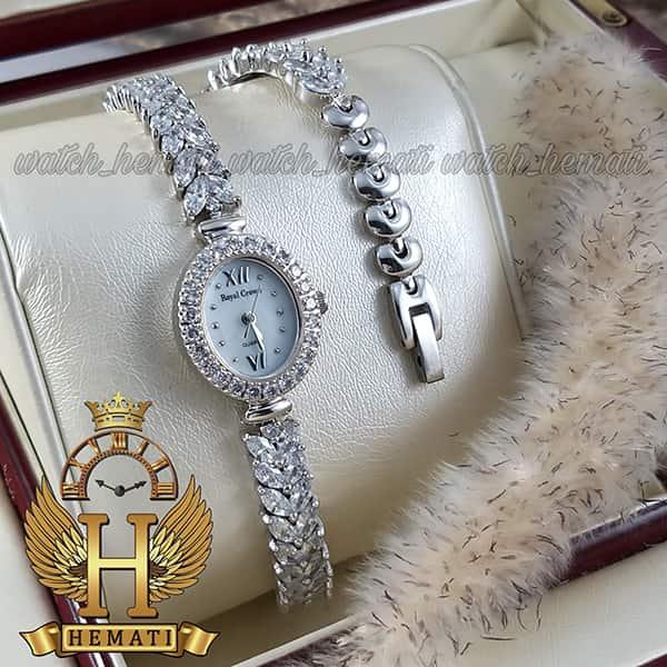 مشخصات ساعت زنانه رویال کرون Royal crown 1516 نقره ای دو دور بند مدل ماهی نگین سواروسکی هایکپی
