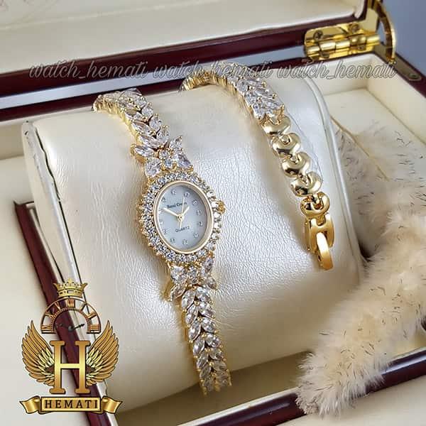 ساعت زنانه رویال کرون مدل پروانه Royal crown 2527 طلایی نگین سواروسکی دو دوربند
