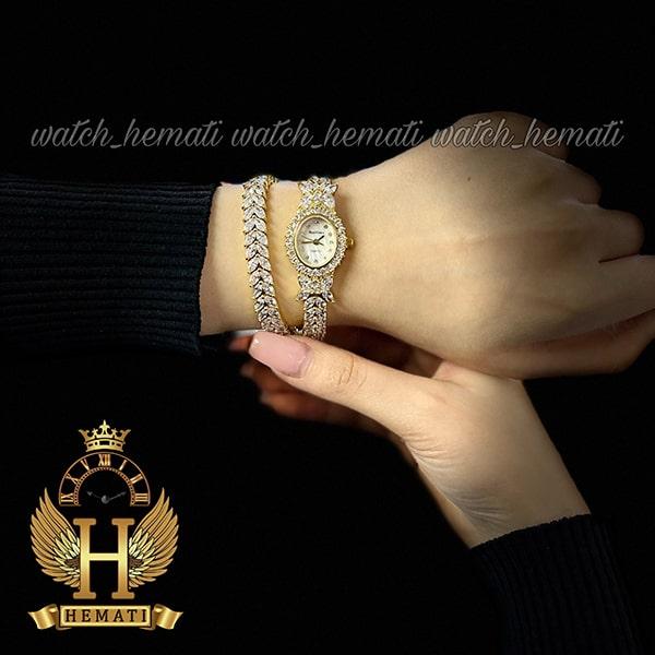 خرید اینترنتی ساعت زنانه رویال کرون مدل پروانه Royal crown 2527 طلایی نگین سواروسکی دو دوربند