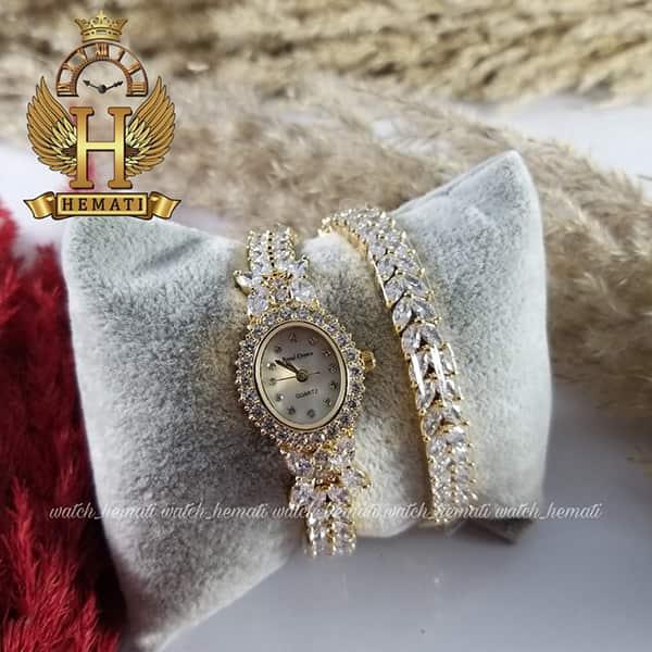 خرید انلاین ساعت زنانه رویال کرون مدل پروانه Royal crown 2527 طلایی نگین سواروسکی دو دوربند