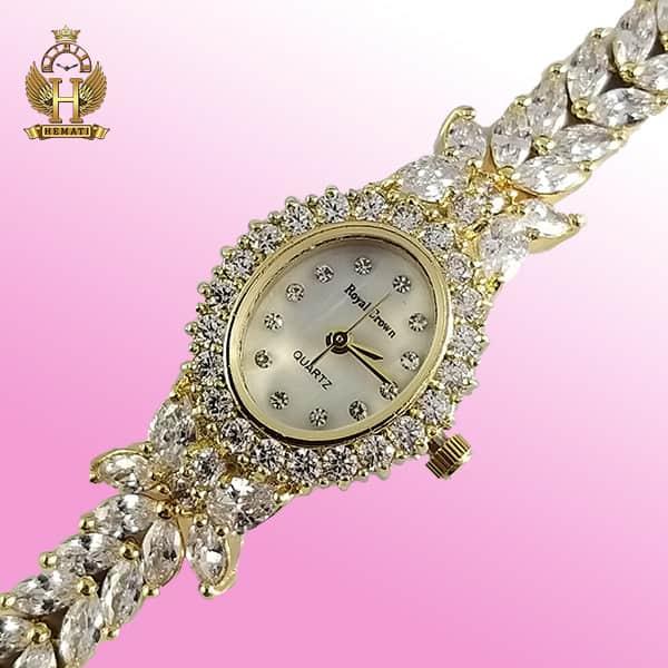 خرید ساعت مچی زنانه رویال کرون مدل پروانه Royal crown 2527 طلایی نگین سواروسکی دو دوربند