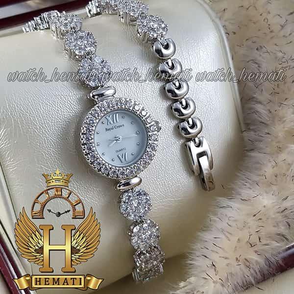 مشخصات ساعت زنانه رویال کرون مدل 9241 نقره ای با بند بلند نقره ای