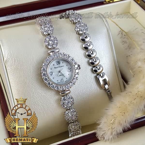 خرید ساعت زنانه رویال کرون 9248 طرح فلاور نقره ای نگین دار