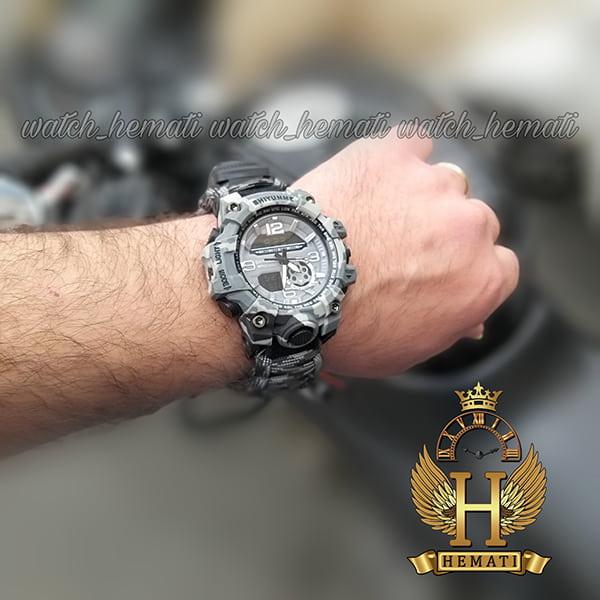 مشخصات ساعت دوزمانه مردانه کماندویی با بند پاراکورد دارای آتیش زن ، قطب نما ، دمای فراین هایت ، سوت و ... قاب و بند مشکی طوسی چریکی