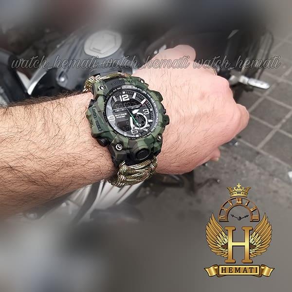 مشخصات ساعت دوزمانه مردانه کماندویی با بند پاراکورد دارای آتیش زن ، قطب نما ، دمای فراین هایت ، سوت و ... قاب و بند سبز کماندویی لجنی