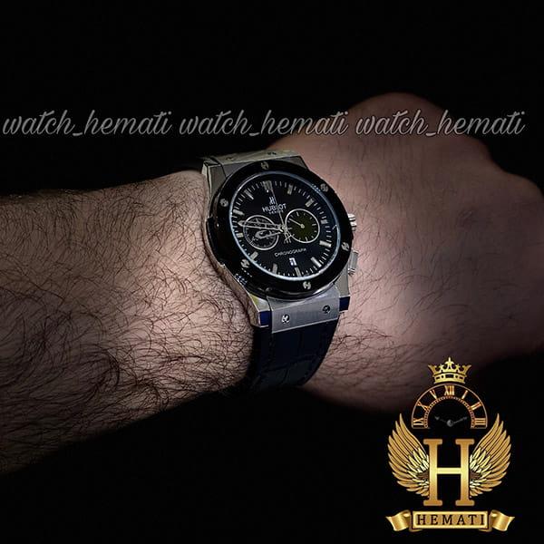 مشخصات ساعت مردانه هابلوت بیگ بنگ مدل HU3M115 سه موتوره قاب نقره ای دور قاب مشکی