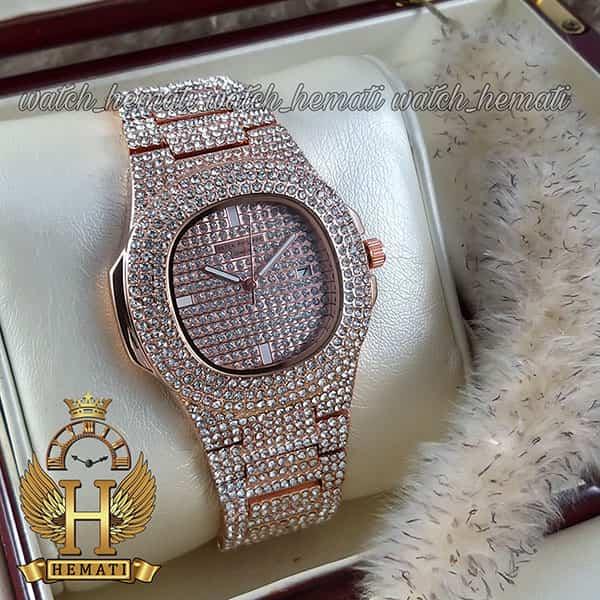 خرید ساعت پتک فیلیپ نگین دار مدل ناتیلوس به رنگ رزگلد